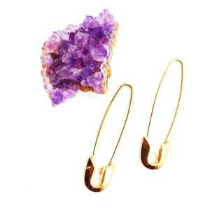 Safety Pin Earrings Gold-Tone Hoops